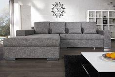 """Die moderne Design Wohnlandschaft """"VINCENZA"""" ist ein Sofa für gemütliche Stunden mit einer besonders großzügigen Liegefläche. Es ist bezogen mit hochwertigem und strapazierfähigem Strukturstoff und die gemütliche Komfort-Plus-Polsterung sorgt für absolutes Sitz- und Liegevergnügen. Die verchromten Füße runden die elegante Erscheinung des Ecksoafas perfekt ab. Mit nur wenigen Handgriffen lässt es sich zudem in eine komfortable Liegewiese verwandeln. Der Clou für mehr Flexibilität"""