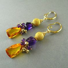 Yellow Citrine and Amethyst Dangle Gold Filled