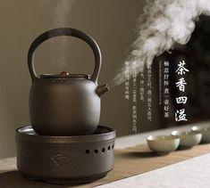 Black Ceramic Loop Handle Tea Water Kettle & Electric Stove for Gongfu Tea Kettle & Stove Set - Dragon Tea House Clay Pizza Oven, Dragon Tea, Electric Stove, Water Lighting, Ceramic Design, Tea Ceremony, Ceramic Pottery, Kettle, Tea Pots
