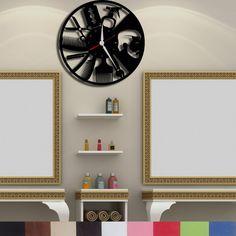 Handmade, Wood, Decorative Male Hairdresser Hairdressing Materials Wall Clock Mo Hairdresser, Home And Garden, Clock, Wood, Frame, Handmade, Home Decor, Watch, Picture Frame