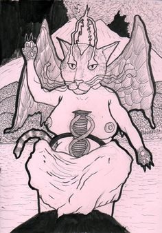 """Baphocat"", 21 x 29 cm, black ink on 180 gm pink paper, made for a friend. Pink Paper, Art, My Arts, Ink, Humanoid Sketch"