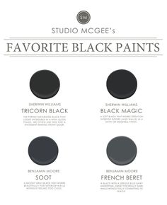 The 5 Best Black Paint Colors Tried-and-true black paint colors that instantly update any space. - Ask Studio McGee: Our Favorite Black Paints ~ Sherwin Williams Black Magic for interior doors Studio Mcgee, Exterior Paint Colors, Paint Colors For Home, House Colors, Paint Colours, Exterior Design, Black Front Doors, Front Door Colors, New Interior Design