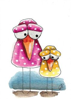 ACEO Original watercolor art painting whimsical bird baby and momma #IllustrationArt