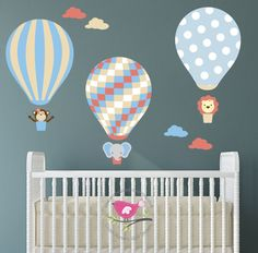 Hot Air Balloon Wall Decal and jungle animal Wall Stickers. Baby Decor. Neutral Bedroom, Coral, Blue, Beige Nursery, Elephant, Lion & Monkey