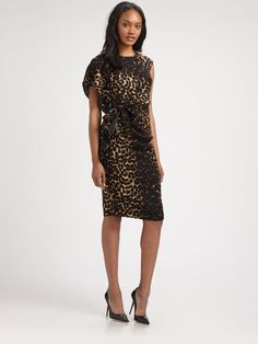 2d7d60044f2f NWT Lafayette 148 New York Talulah Leopard Print Wool Belted Sheath Dress 6   598