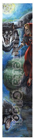 Bookmark Red riding hood  handmade digital art di creativityoffia, €2.00