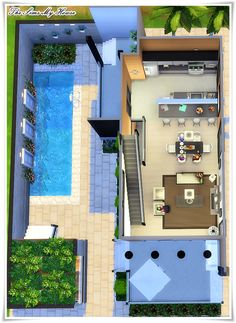 Building A House In The Country Fixer Upper Referral: 1955632206 Sims 4 House Plans, Sims 4 House Building, Modern House Plans, Pool House Designs, Sims 4 House Design, Casas The Sims Freeplay, Casas The Sims 4, Casas Containers, Home Design Floor Plans