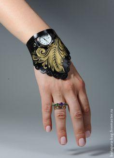 """Браслет-часы """"Хохлома"""". Handmade."""