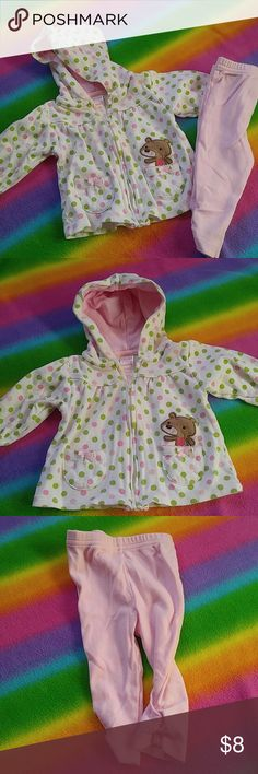 Carter's sweatsuit Polka dot with embroidery bear at the pocket hooded sweatshirt with matching pale pink pants. Ruching at the ankle. Size 3-6 months. Made by Carter's Child of Mine. Gently used condition. Polka dots are pale pink, pink and lime green. Carters Matching Sets