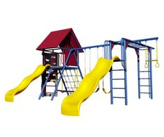 Lifetime Do It Yourself Double Slide Deluxe Playset 90274 (Primary Colors).  This picture shows a lifetime playground with slides, monkey bars and swings.