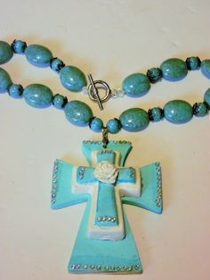 Turquoise Resin Wood Polymer Clay Cerami Christian Cross Swarovski Crystal Statement Necklace by Gypsy Cowgirl Chic Cowgirl Couture SEXY by gypsycowgirlchic on Etsy