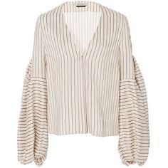 Hellessy     Ravello Sand V Neck Blouse (2.960 BRL) ❤ liked on Polyvore featuring tops, blouses, hellessy, stripe, balloon sleeve blouses, stripe top, white balloon sleeve blouse, striped top and stripe blouse