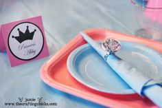 little princess crown name tags for each girl and added those big plastic diamond rings for the napkin holders