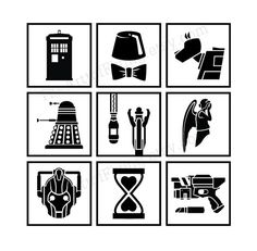 Doctor Who Coasters Set of 4 Set of 9 by TheArtofFlying on Etsy