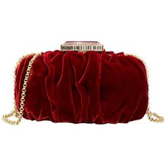 For Sale on - Oscar De La Renta Ruby Red Goa Velvet Clutch - Ruby Red Clutch - Gathered Velvet body - Slide clasp, with enamel and rhinestone embellished detail - Gold Goa, Red Clutch Purse, Cute Purses, Gold Leather, Ruby Red, Evening Bags, Velvet, Outfits, Purses
