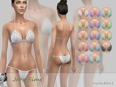 Crochet Bikini 1 - Full Outfit  14 colors  by Jaru Sims  Special thanks to all the great creators whose CC I used on my model