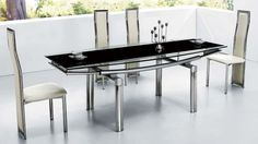 """Athome DT091 Dining Table Black - Dining Table with extension. Base table - metal legs, top - glass. Ideal for interior minimalist and modern styles. Dimensions: 59"""" x 35.5"""" x 29.5""""."""