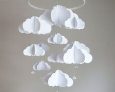 Items similar to Star mobile - cloud mobile - white and red - baby mobile - nursery decor - MADE TO ORDER on Etsy