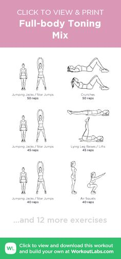 Full-body Toning Mix – click to view and print this illustrated exercise plan created with #WorkoutLabsFit
