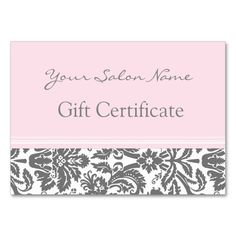 Salon Gift Certificate Aqua Grey Damask Large Business Cards (Pack Of Make your own business card with this great design. All you need is to add your info to this template. Click the image to try it out! Wood Business Cards, Salon Business Cards, Elegant Business Cards, Salon Names, Name Gifts, Standard Business Card Size, Gift Certificates, Card Templates, Pink Grey