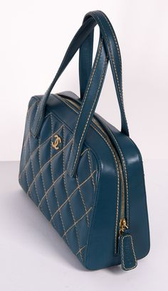 Chanel Blueberry Quilted Satchel Handbag