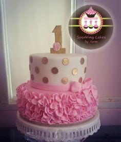 Gold polka dots and pink ruffle cake
