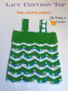 Tropical Waves - Lacy Chevron Top For Little Girls | Free Crochet Pattern | My Hobby is Crochet