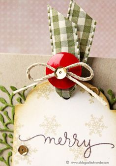 love this ribbon, twine and button detail