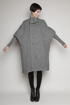 Contemporary Fashion - grey wool coat with draped sleeves; minimalist style // Rick Owens
