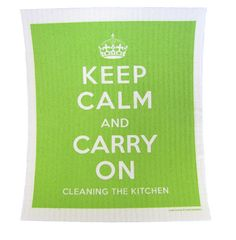 Keep Calm, Green Cellulose Dishcloth