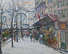 """Adjugé 4 000 euros par Nabecor à Nancy le 12 septembre 2015 : Charles MALLE (1935). """"La Gare du Nord, Paris"""". Huile sur toile signée en bas à gauche. 72 x 93 cm"""