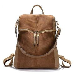 1804f18ec6 Exquisite brown Vintage Leather Backpack - top grain cattle leather with  golden hardware and plenty of