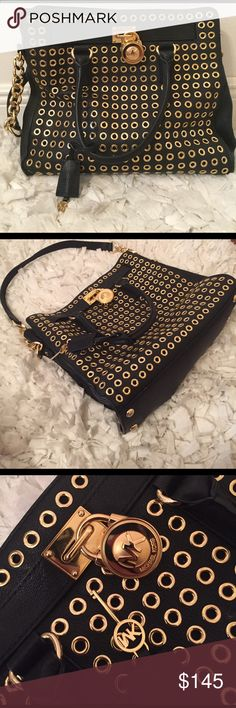 Michael Kors Hamilton Large Gold Studded Bag Michaels Kors Satchel bag. Worn 2 times. Brand new conditions it's just collecting dust in my closet. And yes it is a real Michael kors bag. Michael Kors Bags Satchels