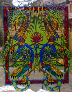 DRAGONS OF ETERNAL LIFE wicoart HANDMADE STAINED GLASS EFFECT WINDOW CLING EASY TO APPLY AND TO REMOVE HAND PAINTED WITH GALLERY GLASS AND GLASS PAINT PEBEO ON AN ELECTROSTATIC VINYL SHEET ONE OF A KIND OOAK