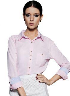 9dac01a137 Camisa Social Feminina Principessa · camisa rosa manga longa oxford suely  Camisa Social Feminina