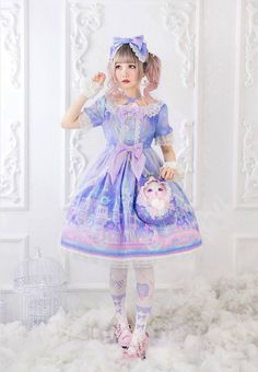 Angel's Heart -Castle of Fantasy- Lolita Short Sleeves OP Dress - Pre-order Closed Harajuku Girls, Harajuku Fashion, Kawaii Fashion, Cute Fashion, Looks Kawaii, Kawaii Style, Mode Lolita, Lolita Style, Kei Visual