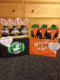 Easter gifts for him. Bunny beers for my boyfriend