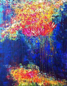 BrillianT Abstraction... tulip canvas art, floral canvas, abstract canvas art, abstract painting