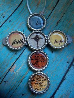 Bottle Cap Cross: Great to make for a Vacation Bible School class craft and put the main verse in bottle caps