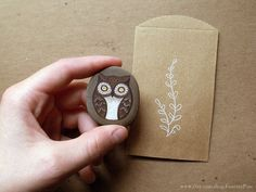 OOAK hand painted owl  Chocolate Brown and Cream  by ForeverPine, $18.00