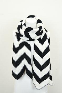 black white chevron scarf #swoonboutique