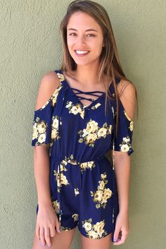 Coming Back To You Romper - Navy/Yellow from Chocolate Shoe Boutique