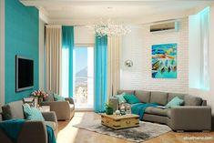 Living Room Paint Colors As Per Vastu Living Room Turquoise, Teal Living Rooms, Living Room Designs, Living Room Decor, Room Paint Colors, Paint Colors For Living Room, Rooms Home Decor, Colorful Interiors, Interior Design