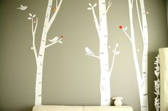 I love the birch trees...would look great on our gray walls in the baby's room!