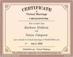 Virtual Marriage Certificate of Barbora & Tereza - WEDonWEB Weddings, Personalized Items, Maria Clara, Maria Theresa, Taehyung, Namjoon, Seokjin, Aesthetic Videos, Aesthetic Pictures