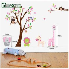 Cheap sticker for kids room, Buy Quality monkey wall sticker directly from China wall stickers for kids Suppliers: Cute Jungle Animals Tree Monkey Wall Sticker For Kids Rooms Child Diy Stickers Wall Art Decals Home Decoration