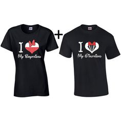 I Love My Boyfriend I Love My Girlfriend Matching Couple T-Shirt... ($17) ❤ liked on Polyvore featuring tops, t-shirts, grey, women's clothing, i love t-shirts, grey shirt, boyfriend shirt, military shirts and gray shirt