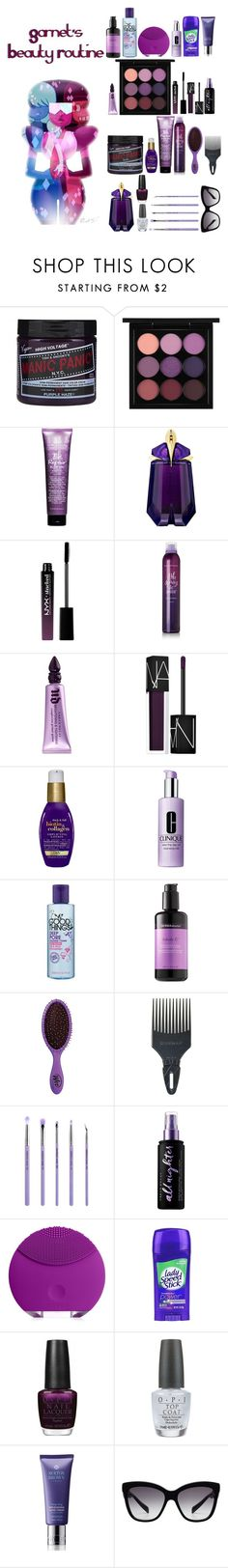 """""""Garnet's Beauty Routine"""" by sonnet-xo ❤ liked on Polyvore featuring beauty, MAC Cosmetics, Bumble and bumble, Thierry Mugler, NYX, Urban Decay, NARS Cosmetics, Organix, Clinique and Dermadoctor"""