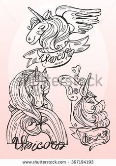 Fantasy horse collection set in black and white vector design, especially for children or designers to color it themselves,coloring page, tattoo, poster, t-shirt and so on. - stock vector