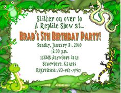 Reptiles and Bugs Birthday Party Invitation Frog Snake Grasshopper